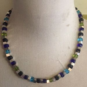 Chico's necklace square glass beads blue green